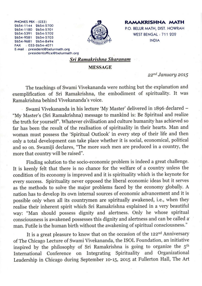 MESSAGE FROM PRESIDENT OF RAMAKRISHNA MISSION page 1